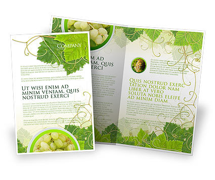 Nature & Environment: Grape Leaves Ornament Brochure Template #04421