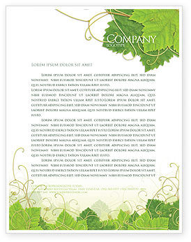Nature & Environment: Grape Leaves Ornament Letterhead Template #04421