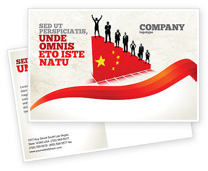 Chinese Economy Postcard Template, 04423, Careers/Industry — PoweredTemplate.com