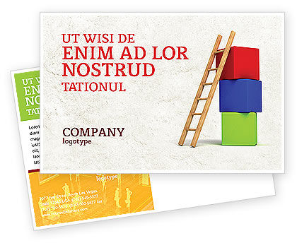 Ladder Postcard Template, 04442, Education & Training — PoweredTemplate.com