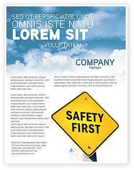 Safety First Flyer Template, 04449, Careers/Industry U2014 PoweredTemplate.com  Flyer Format Word