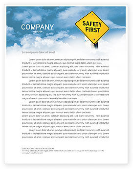 Safety First Letterhead Template, 04449, Careers/Industry — PoweredTemplate.com