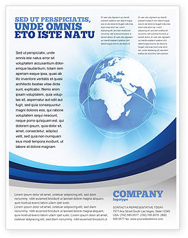 Blue Globe Flyer Template, 04456, Global — PoweredTemplate.com