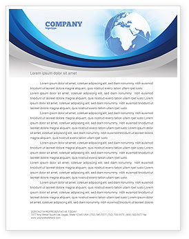 Global: Blue Globe Letterhead Template #04456
