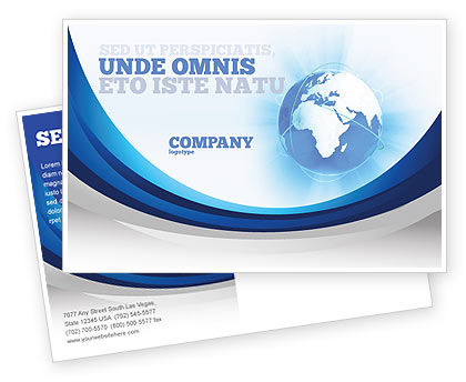 Blue Globe Postcard Template, 04456, Global — PoweredTemplate.com