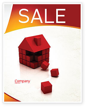 3D Cubes Building Sale Poster Template