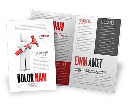 Hammer Man Brochure Template, 04496, Utilities/Industrial — PoweredTemplate.com