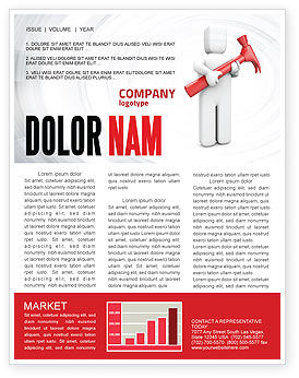 Hammer Man Newsletter Template, 04496, Utilities/Industrial — PoweredTemplate.com