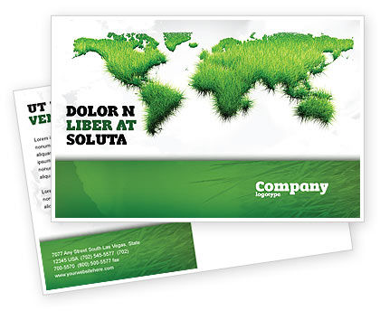 Green Grass of World Postcard Template, 04500, Nature & Environment — PoweredTemplate.com