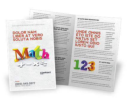 Math Addition Brochure Template, 04501, Education & Training — PoweredTemplate.com