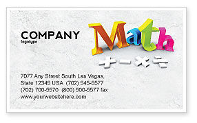 Education & Training: Math Addition Business Card Template #04501