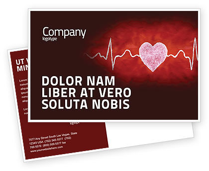Heartbeat Postcard Template, 04504, Medical — PoweredTemplate.com