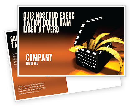 Movie Clapper Postcard Template, 04505, Careers/Industry — PoweredTemplate.com