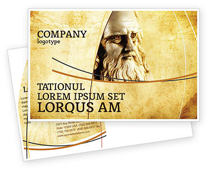 Leonardo Da Vinci Postcard Template, 04517, Education & Training — PoweredTemplate.com