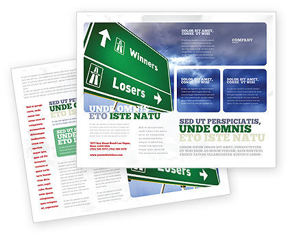 Losers and Winners Brochure Template, 04530, Consulting — PoweredTemplate.com