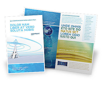 Television Tower Brochure Template, 04548, Telecommunication — PoweredTemplate.com