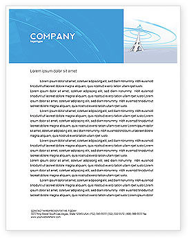 Television Tower Letterhead Template, 04548, Telecommunication — PoweredTemplate.com
