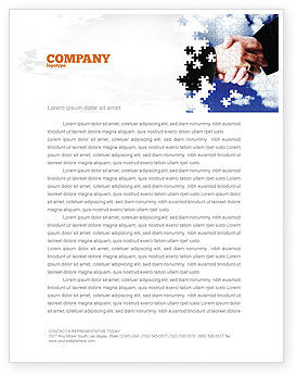 Business: Puzzle Of Partnership Letterhead Template #04550