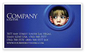 People: Kid Looking In Porthole Business Card Template #04566