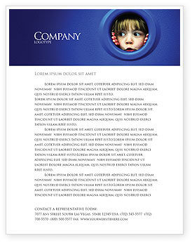 Kid Looking In Porthole Letterhead Template, 04566, People — PoweredTemplate.com