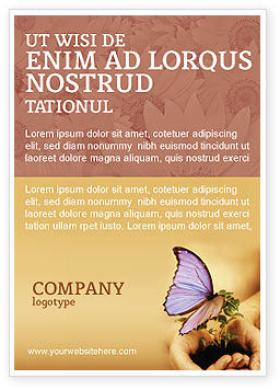 Nature & Environment: Schmetterling in deinen händen Anzeigenvorlage #04567