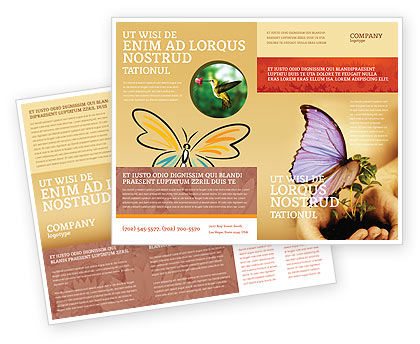 Butterfly In Your Hands Brochure Template, 04567, Nature & Environment — PoweredTemplate.com