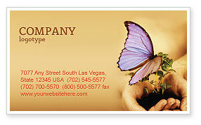 Nature & Environment: Butterfly In Your Hands Business Card Template #04567