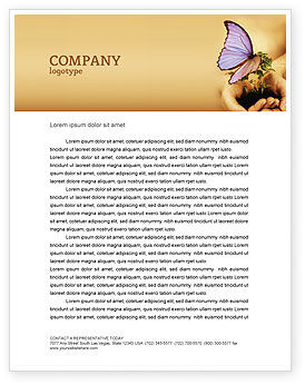 Nature & Environment: Butterfly In Your Hands Letterhead Template #04567