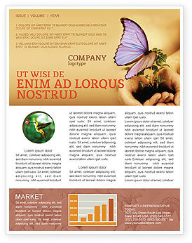 Butterfly In Your Hands Newsletter Template, 04567, Nature & Environment — PoweredTemplate.com