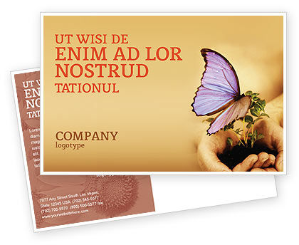 Nature & Environment: Butterfly In Your Hands Postcard Template #04567