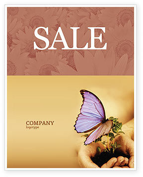 Nature & Environment: Butterfly In Your Hands Sale Poster Template #04567