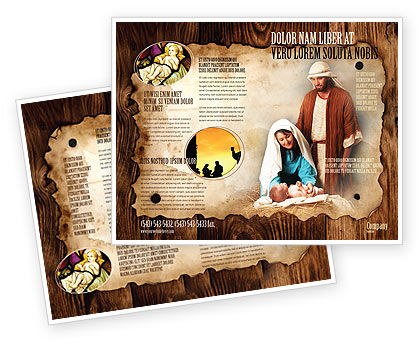 Birth Of Christ Brochure Template, 04574, Religious/Spiritual U2014  PoweredTemplate.com
