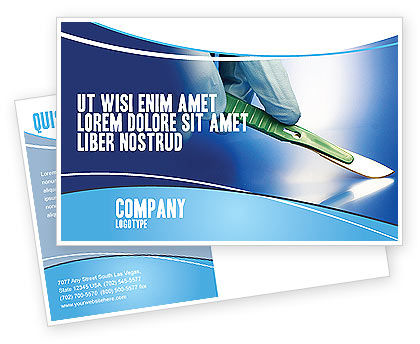 Scalpel Postcard Template, 04589, Medical — PoweredTemplate.com