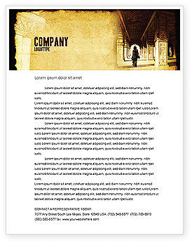 Art & Entertainment: Hindu Temple Letterhead Template #04603