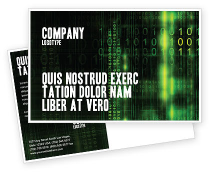 Technology, Science & Computers: Matrix Code Postcard Template #04604