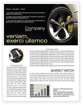 Driving Wheel Newsletter Template, 04629, Cars/Transportation — PoweredTemplate.com
