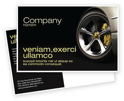 Driving Wheel Postcard Template, 04629, Cars/Transportation — PoweredTemplate.com