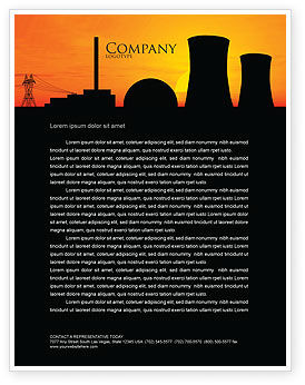 Utilities/Industrial: Nuclear Power Plant Letterhead Template #04632