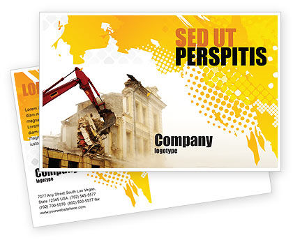 Construction: Demolition Postcard Template #04661