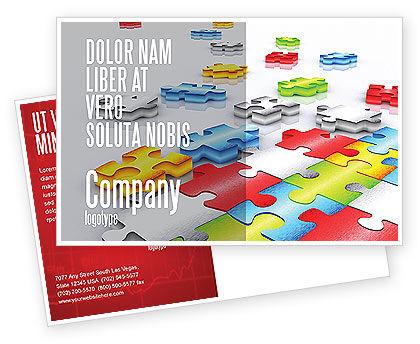 Business Concepts: Puzzle Diversity Postcard Template #04680