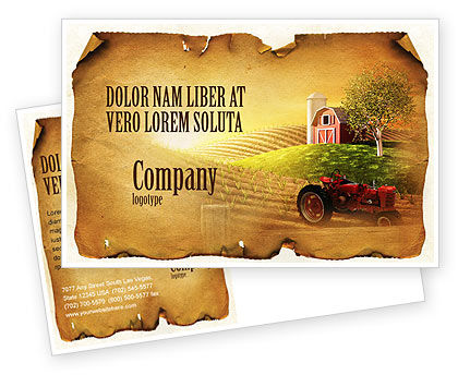 Life On The Farm Postcard Template, 04698, Agriculture and Animals — PoweredTemplate.com