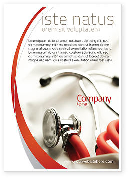 Medical: Phonendoscope In A Gray Red Colors Ad Template #04712