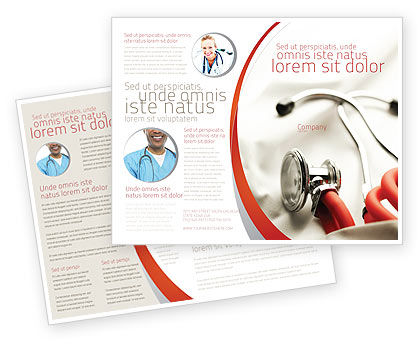 Medical: Phonendoscope In A Gray Red Colors Brochure Template #04712