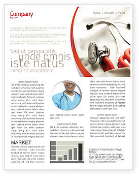 Medical: Phonendoscope In A Gray Red Colors Newsletter Template #04712