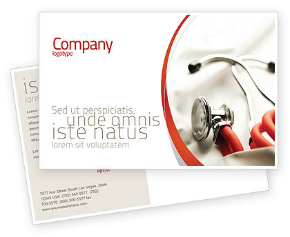 Medical: Phonendoscope In A Gray Red Colors Postcard Template #04712