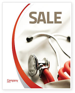 Phonendoscope In A Gray Red Colors Sale Poster Template, 04712, Medical — PoweredTemplate.com