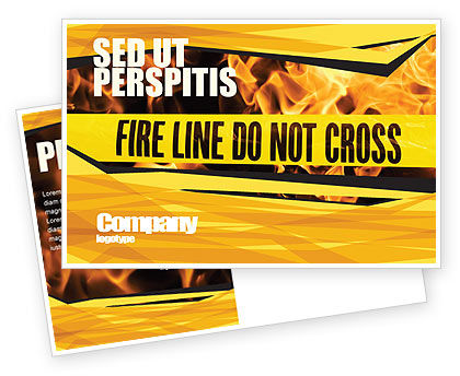 Fire Line Postcard Template, 04736, Careers/Industry — PoweredTemplate.com