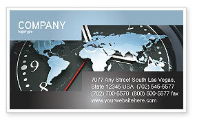 Global: World Clock Business Card Template #04781