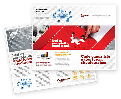 Red Piece Brochure Template, 04790, Consulting — PoweredTemplate.com