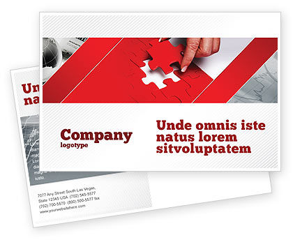 Consulting: Red Piece Postcard Template #04790